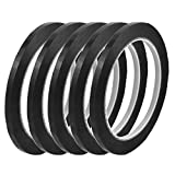 uxcell 5Pcs 5mm Width 66m Length Waterproof Black Single Sided Adhesive Marking Tape