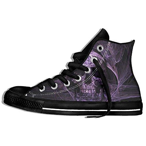 Classiche Sneakers Alte Scarpe Di Tela Anti-skid Dio Testa Di Loto Teschio Casual A Piedi Per Gli Uomini Donne Nere