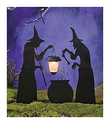 3 Piece Witch Stake Cauldron Pot Solar Lighted Lantern Halloween Silhouette Yard by Rocky's Rocket ()