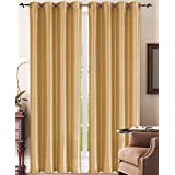 Simple Elegance New York Faux Silk Window Curtain with 8 Metal Grommets, Gold