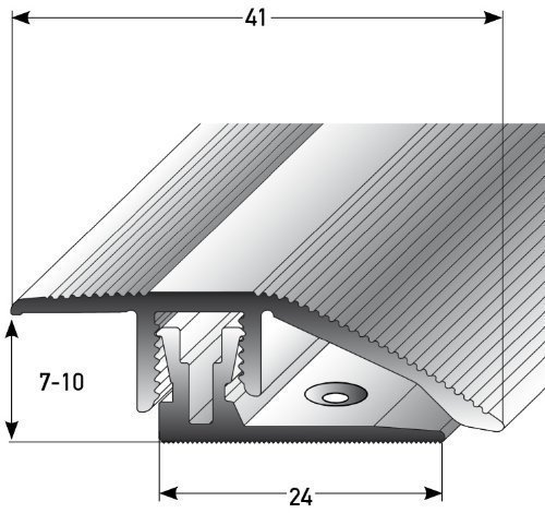 Aluminium height adjustment profile with APL click system, 90 cm, silver, 7 mm - 10 mm, with screws, transition profile for laminate, parquet and carpet, transition bar, door rail with continuous compensation acerto