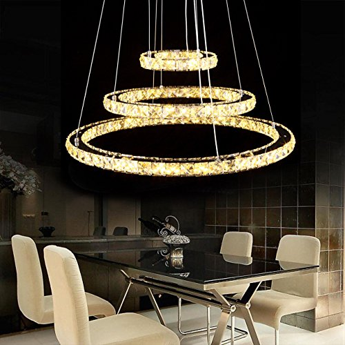 GSV Store Modern Crystal 3 Rings Pendant Light Circle Ceiling Lamp Chandelier LED Lighting (Grace Three Light Chandelier)