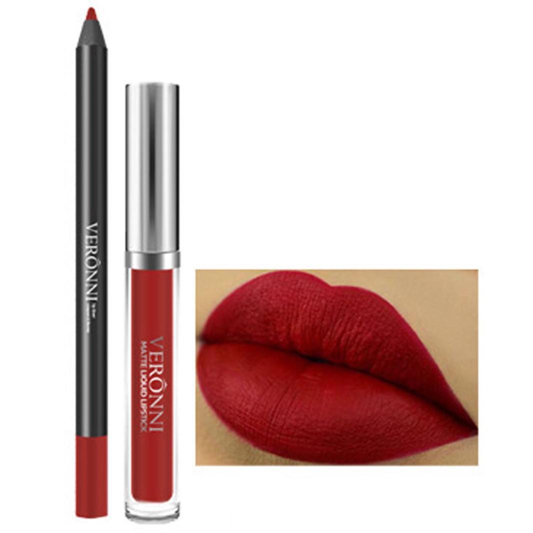lápiz labial mate de maquillaje permanente Sannysis lápiz labial líquido brillo mate duradero cosméticos labial impermeable y Delineador de labios Barra De Labios (B)