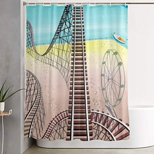 (NiYoung Shower Curtain with Hooks Durable Waterproof for Decorative Bathroom Curtain Roller Coaster)