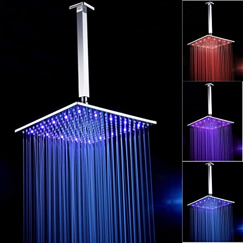 DZT1968 Contemporary Square LED Rainfall Shower Head 16 Inch Chrome Brass by DZT1968