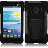 For LG Lucid 2 VS870 T-Stand Impact Kickstand Hybrid Double Layer Fusion Cover Case Black/Black