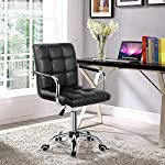 Yaheetech Leather Office Chair Swivel Computer Desk Chairs Adjustable Task Chair for Study Home