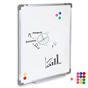 SwanSea oficina pizarra blanca magnética con pen tray y 12 Magnetes (60x80cm)
