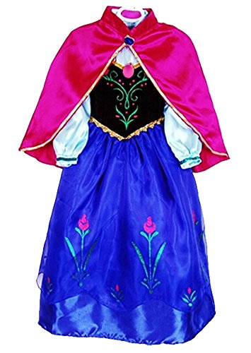 Skin9th Princess Anna Lace Paisley Chiffon Cosplay Costume Play Long Dress for Girls Kids (4T) ()