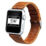 Watch Band for Apple Watch Series 4 – Genuine Leather Replacement Strap, Lightweight Horse Textured Wrist Band for iWatch Series – Unisex – Light Brown - 40mm (38mm) by Spartan Watch Co.