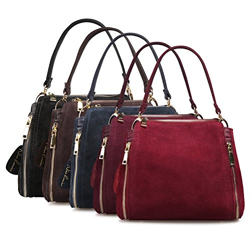 Women Real Suede Leather Shoulder Bag Leisure Doctor Handbag For Female Girls Top-handle (Burgundy) by Nico louise (Image #6)