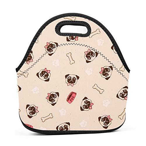 QUANUIJHG Dog Food Bones Lunch Bag Insulated Reusable Neoprene School Picnic Lunch Box Waterproof Tote Bento Bag with Zippe Handbag for Men, Women, Adults, Kids, Girls, Boys