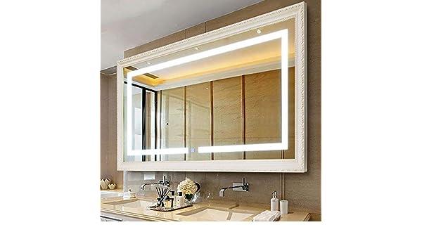 espejo de baño LED - Colgar en el baño Marco de Madera Inteligencia con Espejo de luz, Interruptor táctil, Horizontal, Plata/Oro: Amazon.es: Hogar