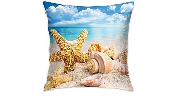 shizh Beach Starfish Shell y Blue Sky Funda de Almohada Decorativa ...