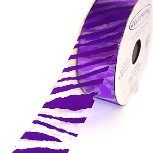 ACI PARTY AND SPIRIT ACCESSORIES Clear Ribbon with Purple Zebra Print Pattern, 27 yd. Roll -
