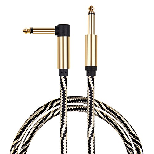 Guitar cable, Mugig Performance Instrument Cables 10ft, 1/4 Inch (6.3mm) Straight to Right Angle Golden Black Copper Shielding Line for Electric Guitar, Bass Guitar, Keyboard by Mugig