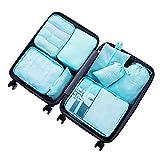 8 pcs Large Packing Cubes Travel Luggage Organizer Set With Shoe Bag (turquoise)