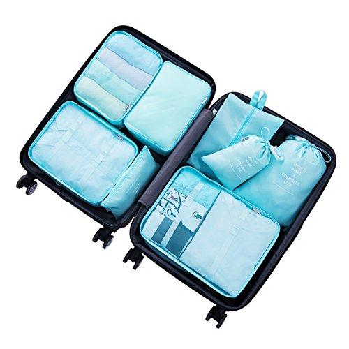 8 pcs Large Packing Cubes Travel Luggage Organizer Set With Shoe Bag (turquoise) by VEETON