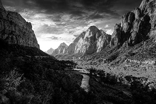 ザイオン国立公園の壁紙-自然の壁紙-#38017 - 白黒の キャンバス ステッカー 印刷 壁紙ポスター はがせるシール式 写真 特大 絵画 壁飾り 90cmx60cm