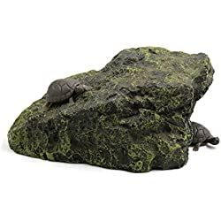 uxcell Dark Green Resin Climb Stone Tortoise Cave Reptiles House Ornament for Aquarium