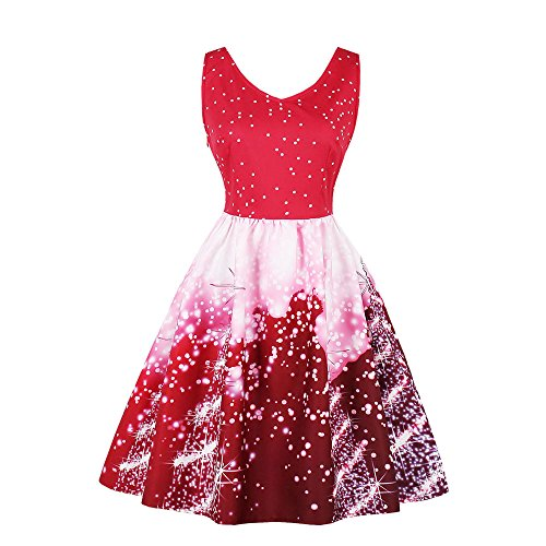 GOVOW Christmas Dresses for Women Vintage Plus Size Santa Christmas Party Dress Xmas Swing Skater Dress -