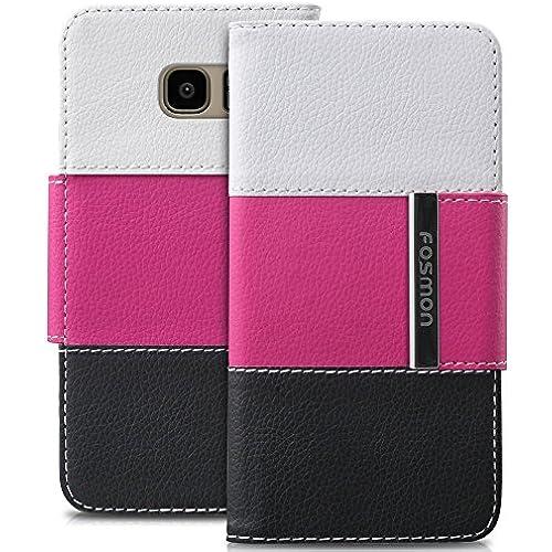 Galaxy S7 Edge Case, Fosmon CADDY-TRI Slim Leather Folio Wallet Case for Samsung Galaxy S7 Edge (White/Pink/Black) Sales