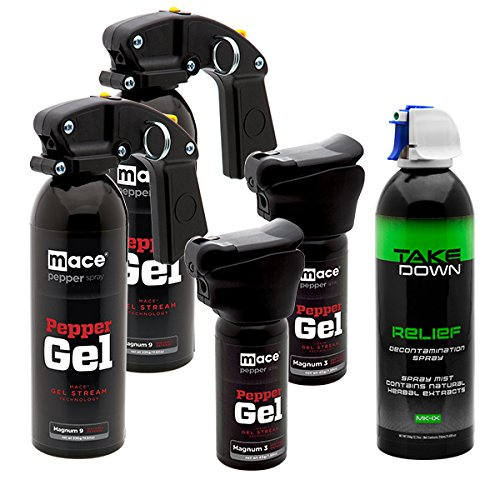(5 Canister Bundle) Mace Brand Police Strength Less-Than-Lethal Pepper Gel Spray Defense Kit Solution for Professional, Commercial, Industrial and School Applications (Mace 80929 Kit)
