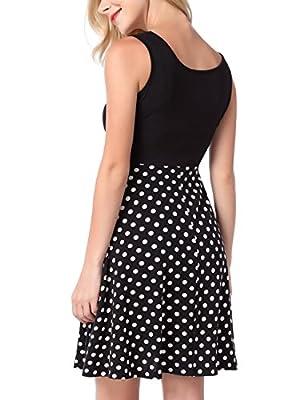 DJT Women's Scoop Neck Flare Sleeveless Sundress Above Knee Knit Mini Tank Dress