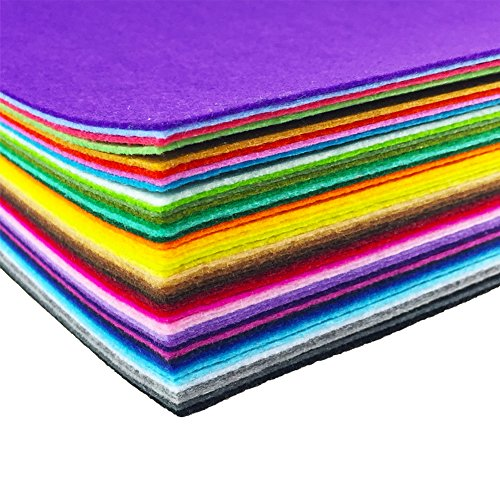 flic-flac 44PCS 8 x 12 inches (20 x 30cm) Assorted Color Felt Fabric Sheets Patchwork Sewing DIY Craft 1mm Thick ... (20cm 30cm, 44pcs)