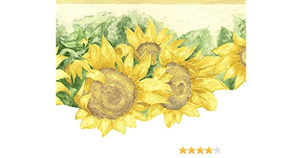 Wallpaper Border Watercolor Yellow Sunflowers Die Cut Bottom Edge