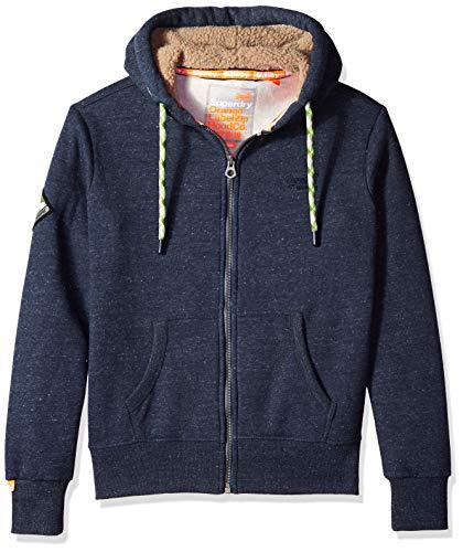 (Superdry Men's Orange Label Zip Hoodie, Deep Lake Space Dye, XL)