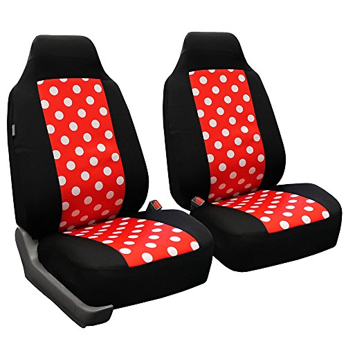 FH Group FB115REDBLACK102 Red/Black Stylish Polka Dot Car Seat Cover, Set of 2 (High Back Front Set)