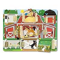 """Melissa & Doug Hide & Seek Farm (juguetes de desarrollo, tablero magnético de rompecabezas, construcción de madera resistente, 9 piezas, 12 """"de alto x 9.4"""" de ancho x 0.9 """"de largo)"""