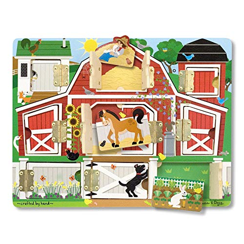 "Melissa & Doug Hide & Seek Farm (Developmental Toys, Magnetic Puzzle Board,  Sturdy Wooden Construction, 9 Pieces, 12"" H x 9 4"" W x 0 9"" L)"
