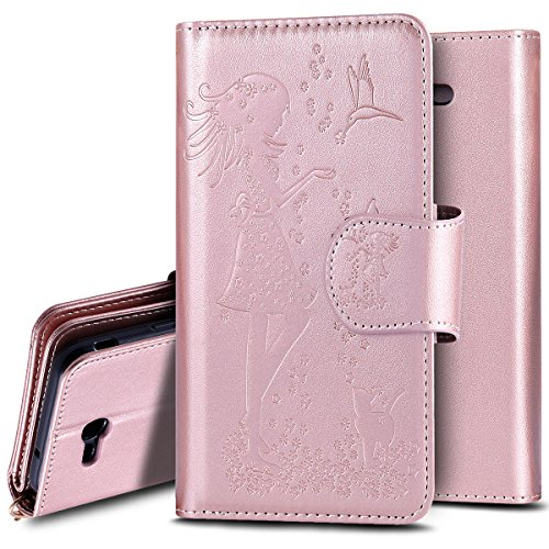 Galaxy J7 V Case, Galaxy J7 Perx Case, Galaxy J7 Sky Pro Case, PHEZEN Beauty Flower Girl Cat Design PU Leather Wallet Case Stand Flip Case with Credit Card Slot for Samsung Galaxy J7 2017, Rose Gold