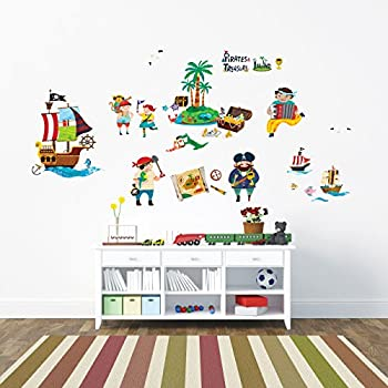 Decowall DW 1310 Pirates And Treasure Island Kids Wall Decals Wall Stickers  Peel And Stick Part 96