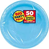 Amscan Big Saver Pack Dessert Plastic Plates Party Supplies (300 Piece), Caribbean Blue, 7 Inch