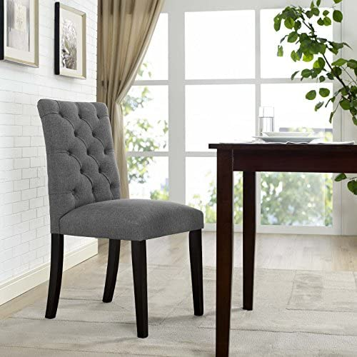 Modway Duchess Modern Tufted Button Upholstered Fabric Parsons Kitchen and Dining Room Chair in Gray