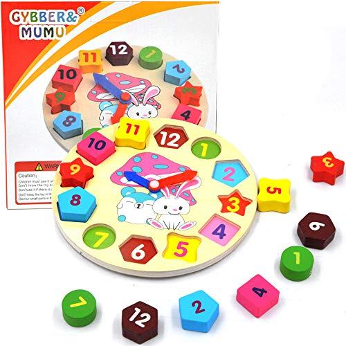 GYBBER&MUMU Little Star Wooden Blocks Toys Digital Geometry Clock Children's Educational Toy for Baby boy and Girl Gift