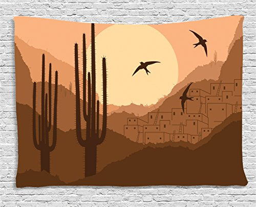 Lunarable Country Tapestry, Wild Desert Canyon Mexican Town Sundown Hot Weather Swallow Silhouette, Wall Hanging for Bedroom Living Room Dorm, 60 W X 40 L Inches, Brown Burnt (Canyon High Country Rug)