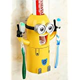 OnebestTwo Eyes Despicable Me Minions Automatic Toothpaste Dispenser Toothbrush Holder Yellow