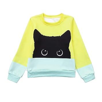 Qiusa Ropa para niños pequeños, Adorable Gato de Dibujos Animados, Camiseta Impresa, Remiendo