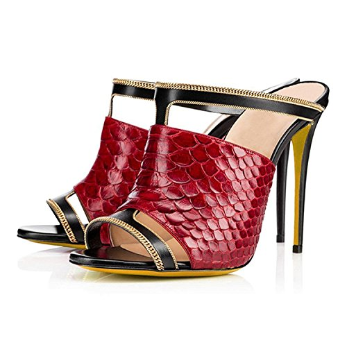 Image of AIWEIYi Womens High Heel Stiletto Open Toe Dress Sandal Mules Slides Slippers