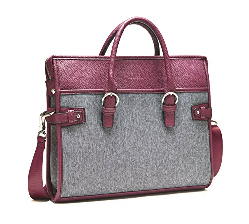 14 Inch Laptop Bag / Shoulder Briefcase - Computer Sleeve with handles, Case Great for Women and Men 13 - 14 Inch / MacBook Air - Pro / Notebook / HP / Ultrabook Portable, Brown/Grey (Burgundy)