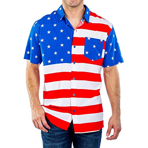 FEDULK Mens Patriotic Shirts American Flag Print Short Sleeve Pocket Lapel Buttons Casual T-Shirt Blouse(Multicolor, XX-Large)