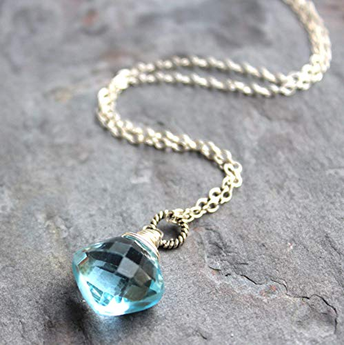 Blue Topaz Pendant Necklace Sterling Silver Faceted Puffed Kite Briolette Gem