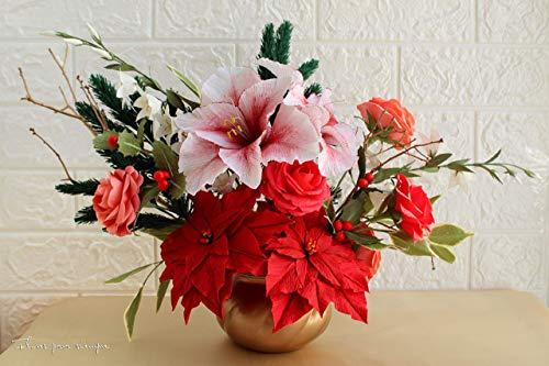 Centro de mesa navideno - Centro de mesa con flores de pascua, amarilis, rosas de jardin y acebo