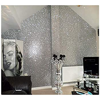 27in By 197in Silver Chunky Glitter Wallpaper 3D Sparkly Fabric Wall PaperBling Wallcovering