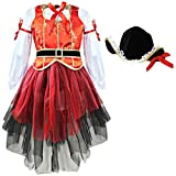 dPois Kids Girls' Three-Pieces Halloween Pirate Cosplay Costumes Tops Tutu Skirt with Hat Fancy Outfits Red 2-3