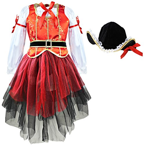 dPois Kids Girls' Three-Pieces Halloween Pirate Cosplay Costumes Tops Tutu Skirt with Hat Fancy Outfits Red 9-10